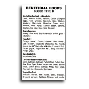 Blood Type B Beneficial Foods