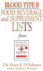 Blood Type B Food, Beverage and Supplement Lists