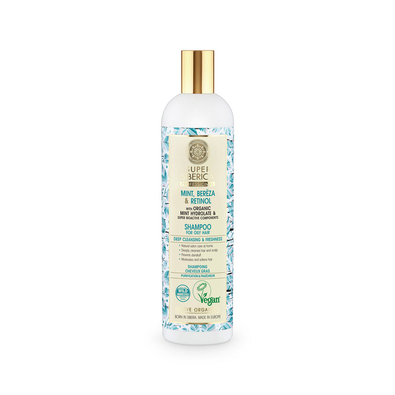 Super Siberica Mint, bereza & retinol. Shampoo for Oily Hair, 400 ml