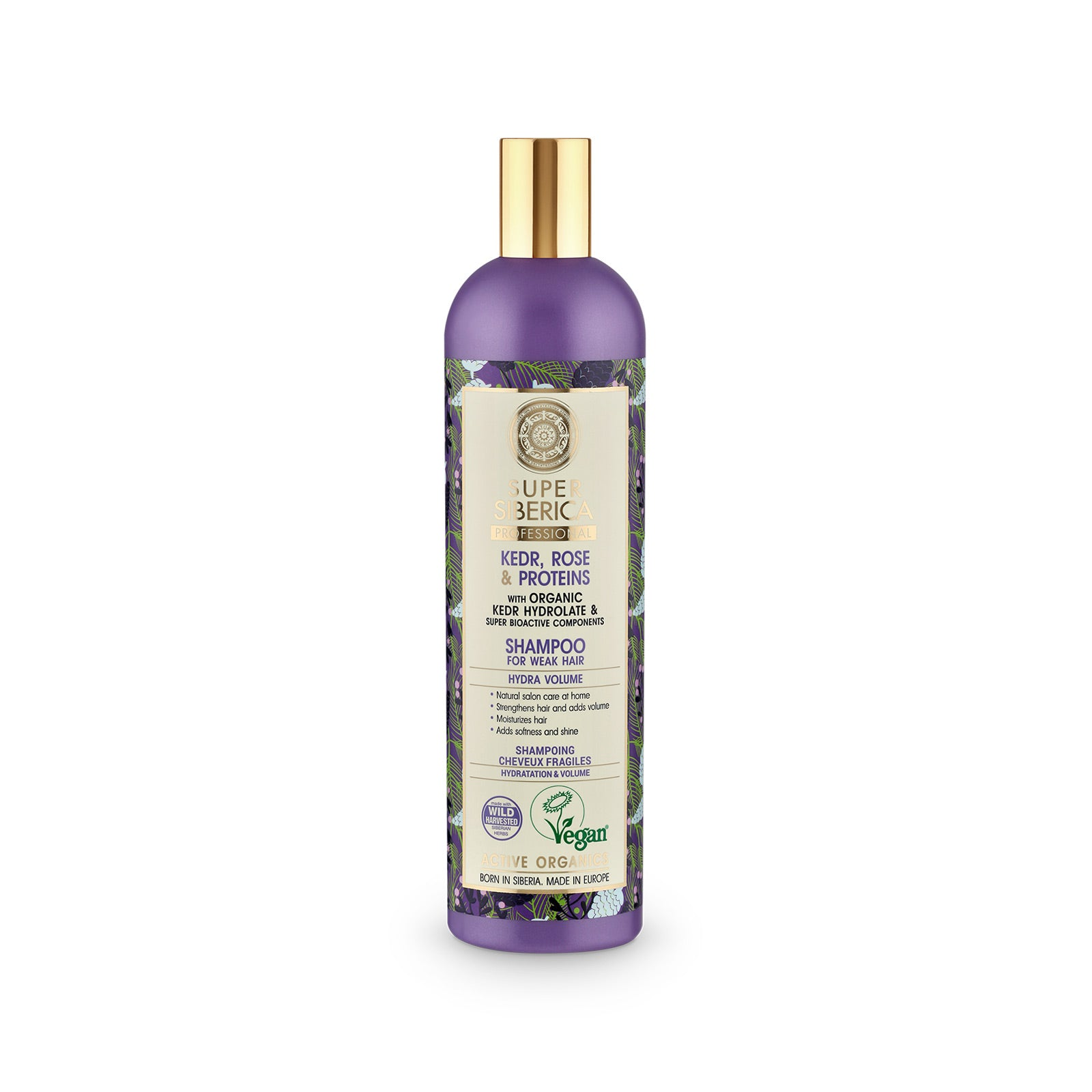 Super Siberica Kedr, rose & proteins. Shampoo for Weak Hair, 400 ml