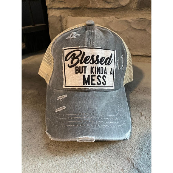 Blessed but Kinda a Mess Ponytail Trucker Hat Grey