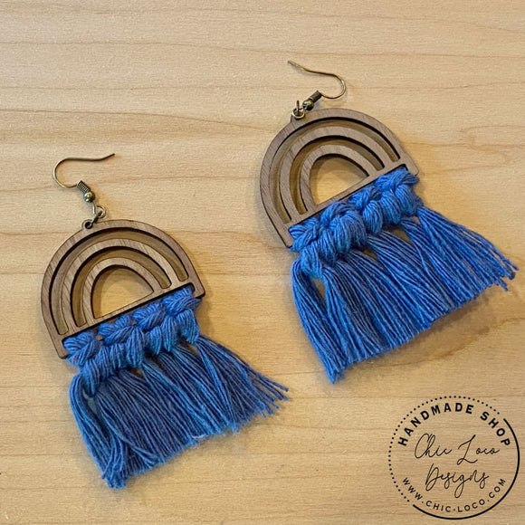 Blue Macrame Cord Rainbow Wood Dangle Earrings