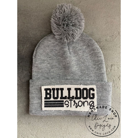 Bulldog Strong Beanie Winter Hat Toboggan Pom-pom Gray