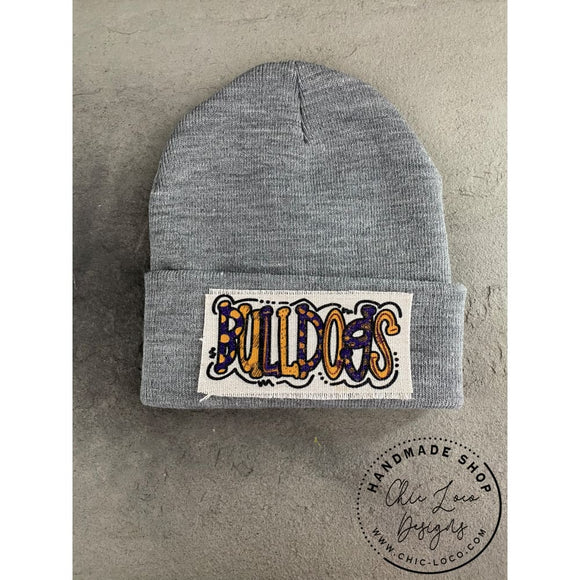 Bulldogs Beanie Winter Hat Toboggan Gray