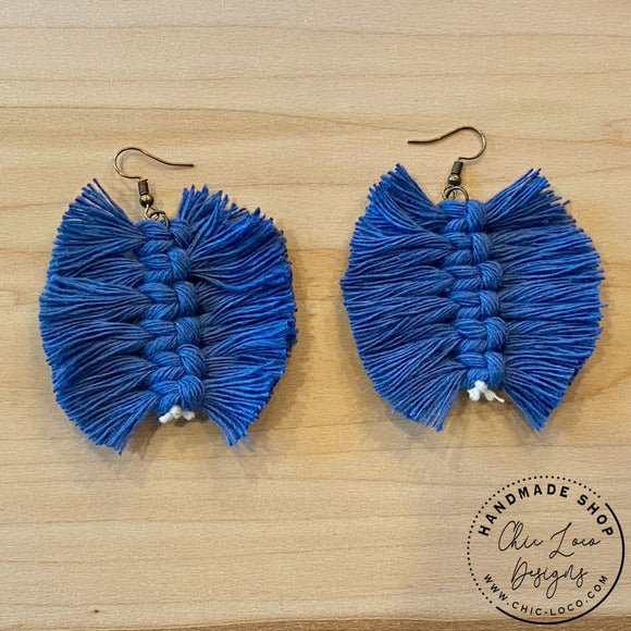 Feather Fray Blue Macrame Cord Dangle Earrings - Chic Loco Designs