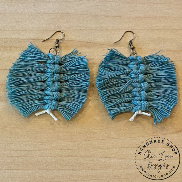 Feather Fray Green Macrame Cord Dangle Earrings - Chic Loco Designs