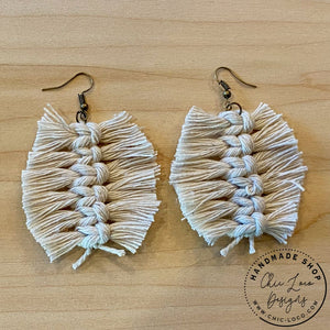 Feather Fray White Macrame Cord Dangle Earrings - Chic Loco Designs