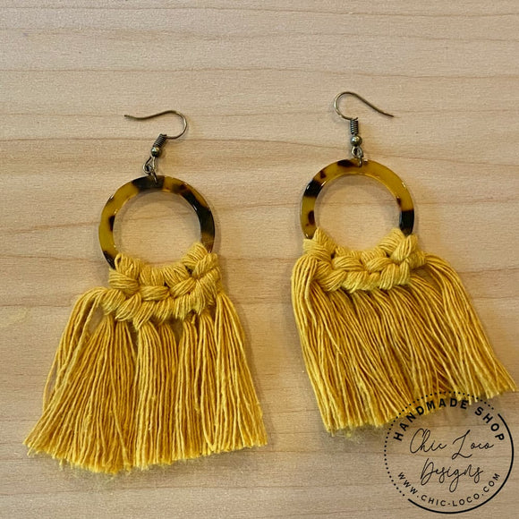 Mustard Macrame Cord Brown Leopard Hoop Dangle Earrings