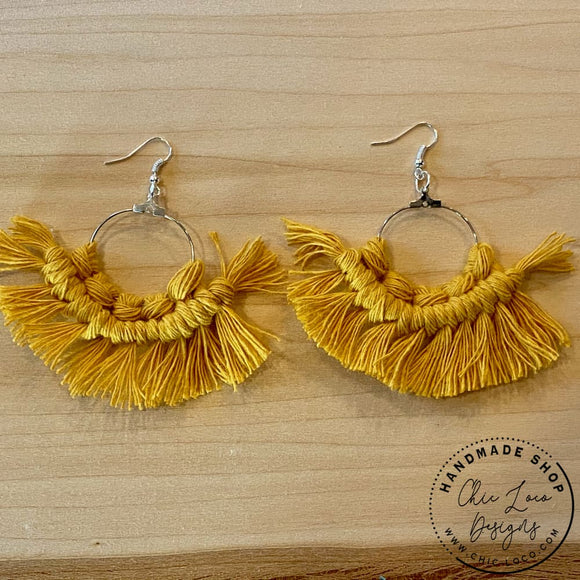 Mustard Macrame Cord Silver Hoop Dangle Earrings