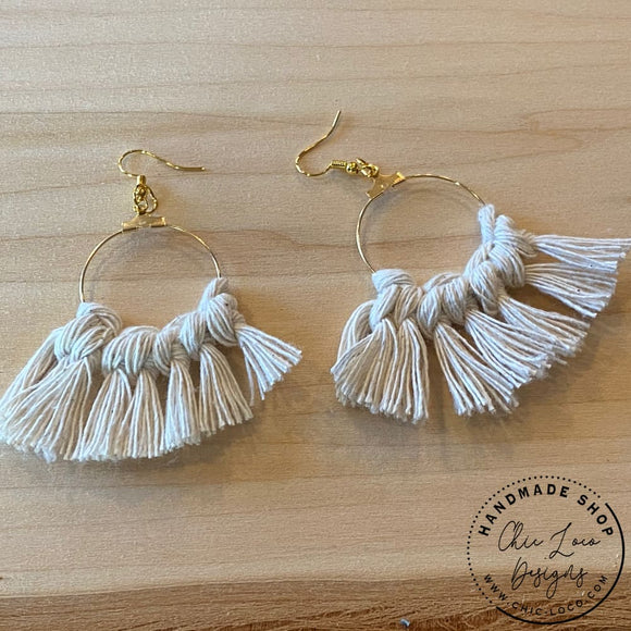 White Macrame Cord Dangle Hoop Earrings - Chic Loco Designs