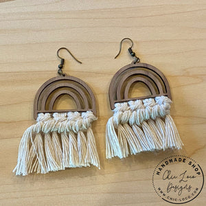 White Macrame Cord Rainbow Wood Dangle Earrings