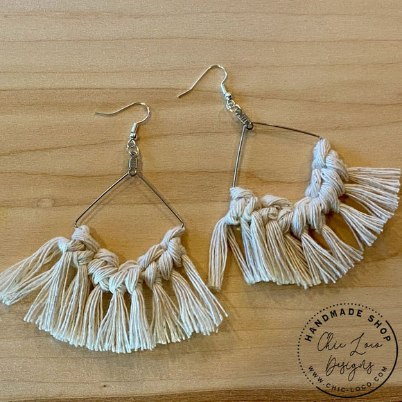 White Macrame Cord Silver Diamond Dangle Earrings