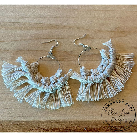 White Macrame Cord Silver Hoop Dangle Earrings