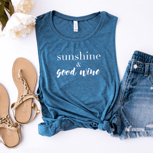 Sunshine & Good Wine - Bella+Canvas Tank Top