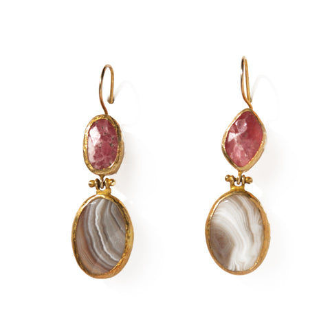 2 Drop Earrings (hock): Rhodocrocite x Agate