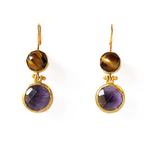 2 Drop Earrings (hock): Tiger Eye x Amethyst