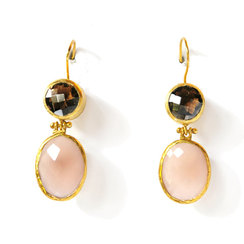 2 Drop Earrings (hock): SmokyQuartz x RoseQuartz