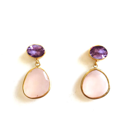 2 Drop Earrings (  S-size) : Amethyst x Rose Quratz