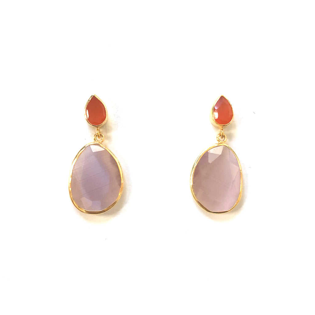 2 Drop Earrings (  S-size) : Carnelian x Cateye