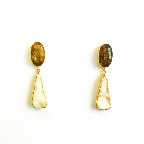2 Drop Earrings : Amber x Chalcedony