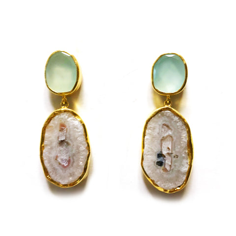 2 Drop Earrings (L-size) : Chalcedony x Quartz