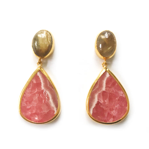 2 Drop Earrings (L-size) : RutileQuartz x Rhodochrosite