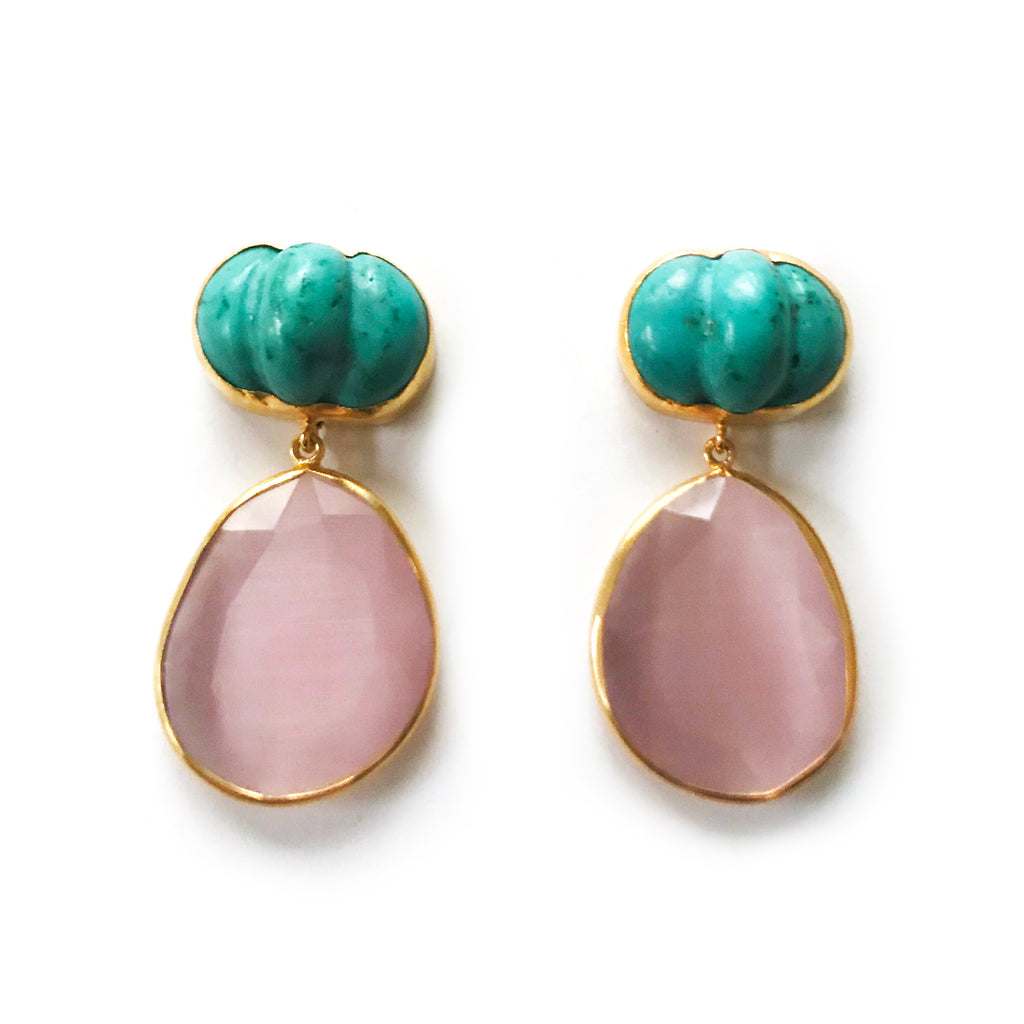 2 Drop Earrings (L-size) : Turquoise x Cateye
