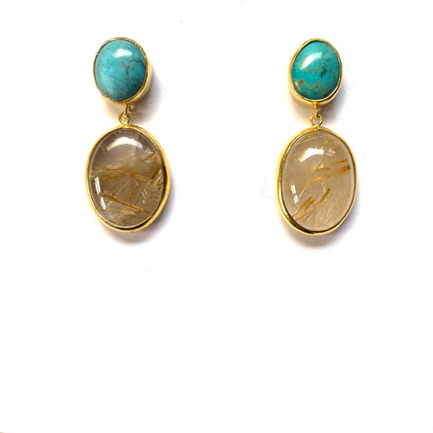 2 Drop Large Earrings: Turquoise x Rutile Quartz