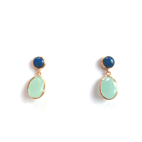 2 Drop Earrings ( S-size) : Lapis Lazuli x Chalcedony