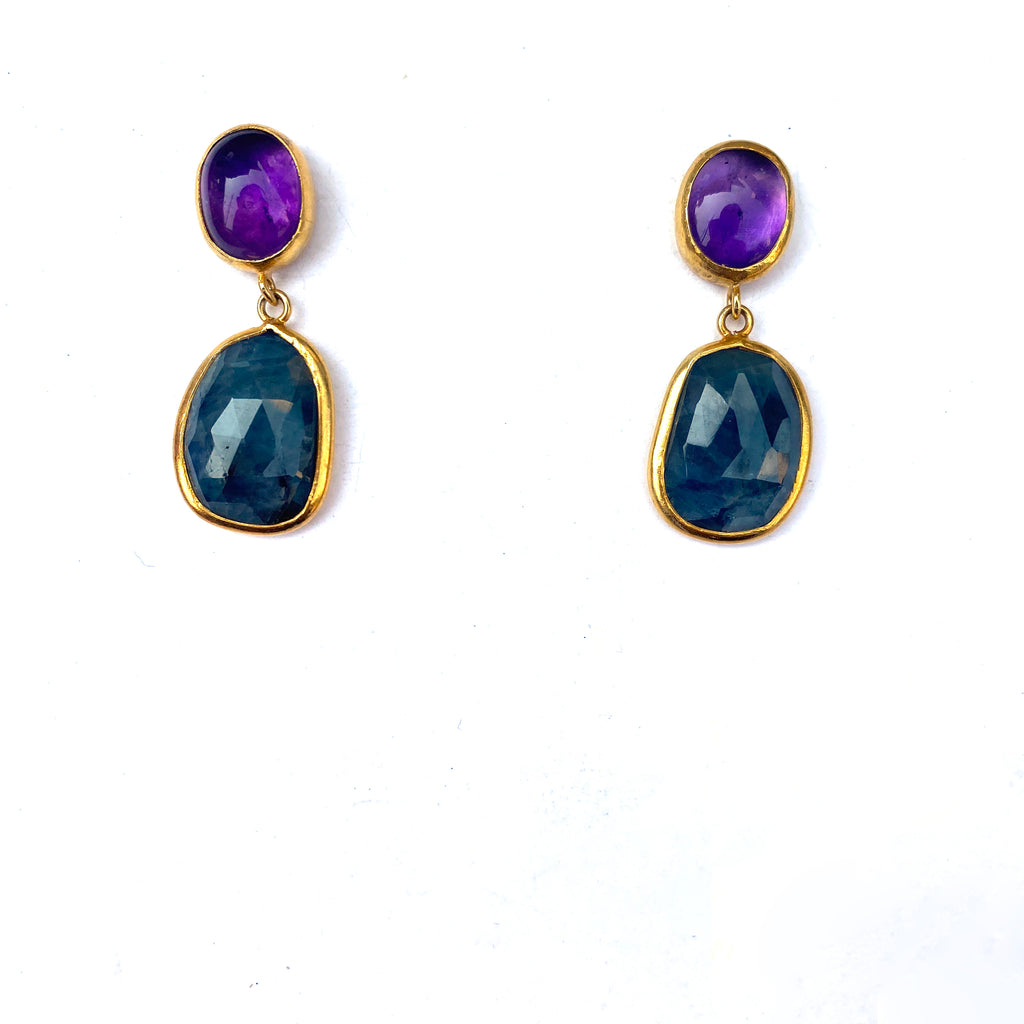 2 Drop Earrings (M-size) : Amethyst x Sapphire