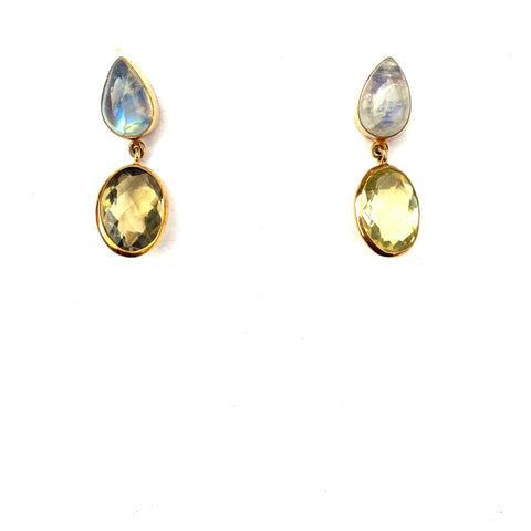 2 Drop Earrings (M-size) : Moonstone x Topaz