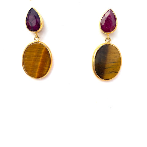 2 Drop Earrings (M-size): Ruby x Tiger Eye