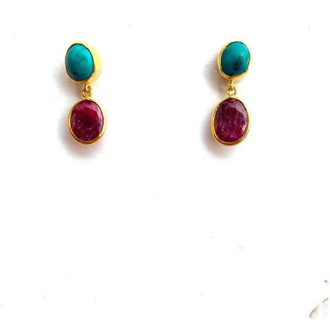 2 Drop Earrings ( S-size): Turquoise x Ruby