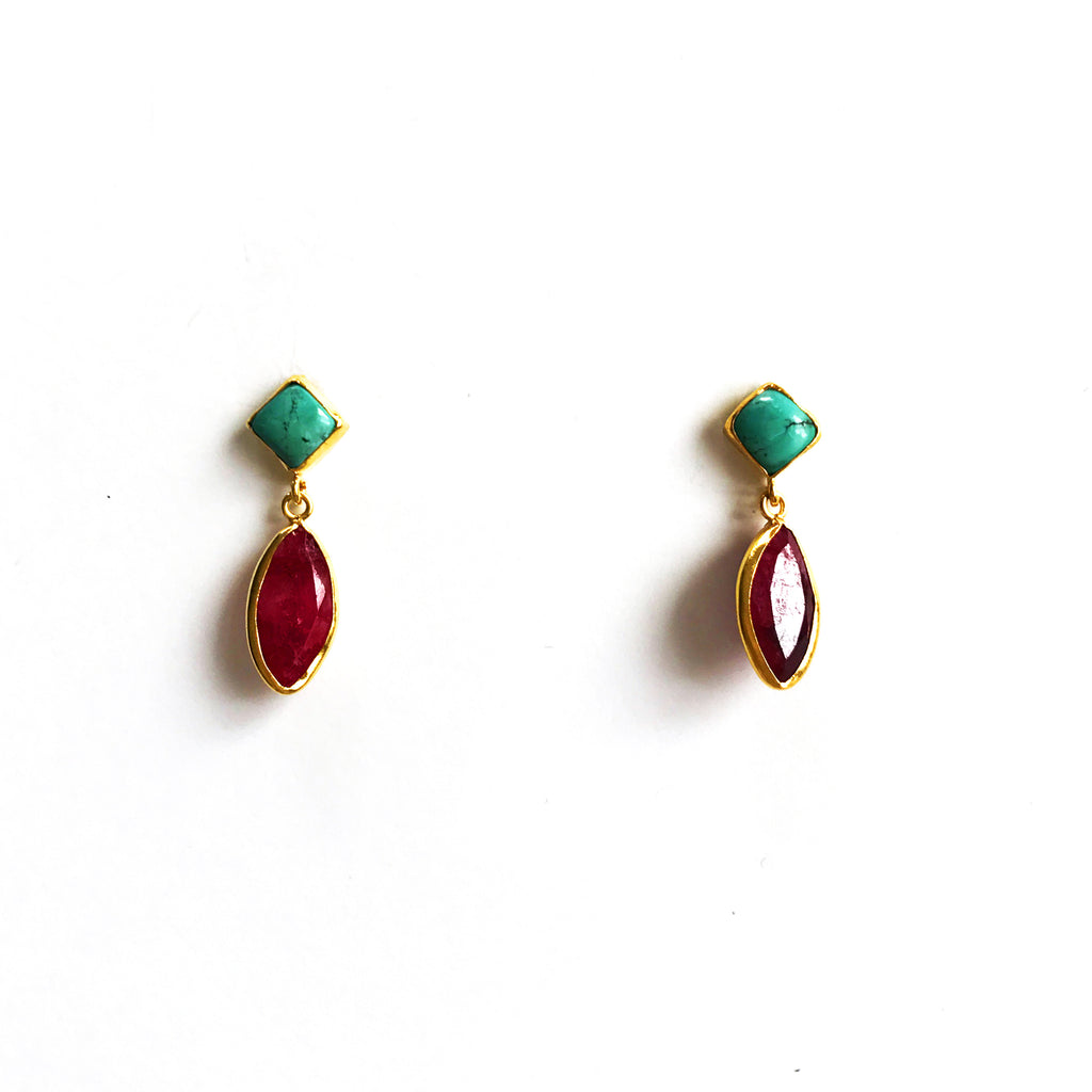 2 Drop Earrings : Turquoise x Ruby