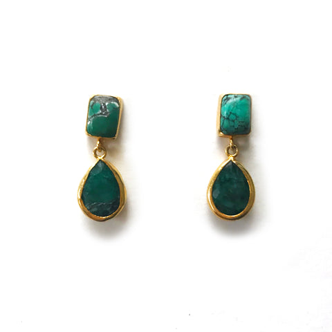 2 Drop Earrings ( S-size) : Turquoise x Emerald