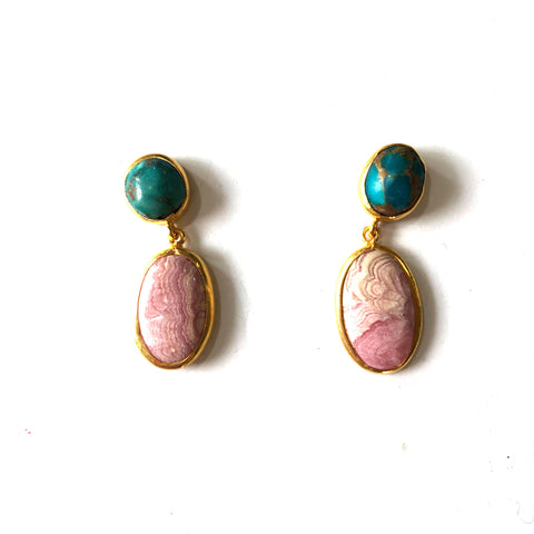 2 Drop Earrings ( S-size) : Turquoise x Rhodochrosite