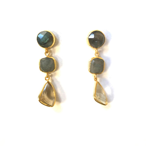 3 Drop Earrings ( S-size) : Labradorite x Topaz