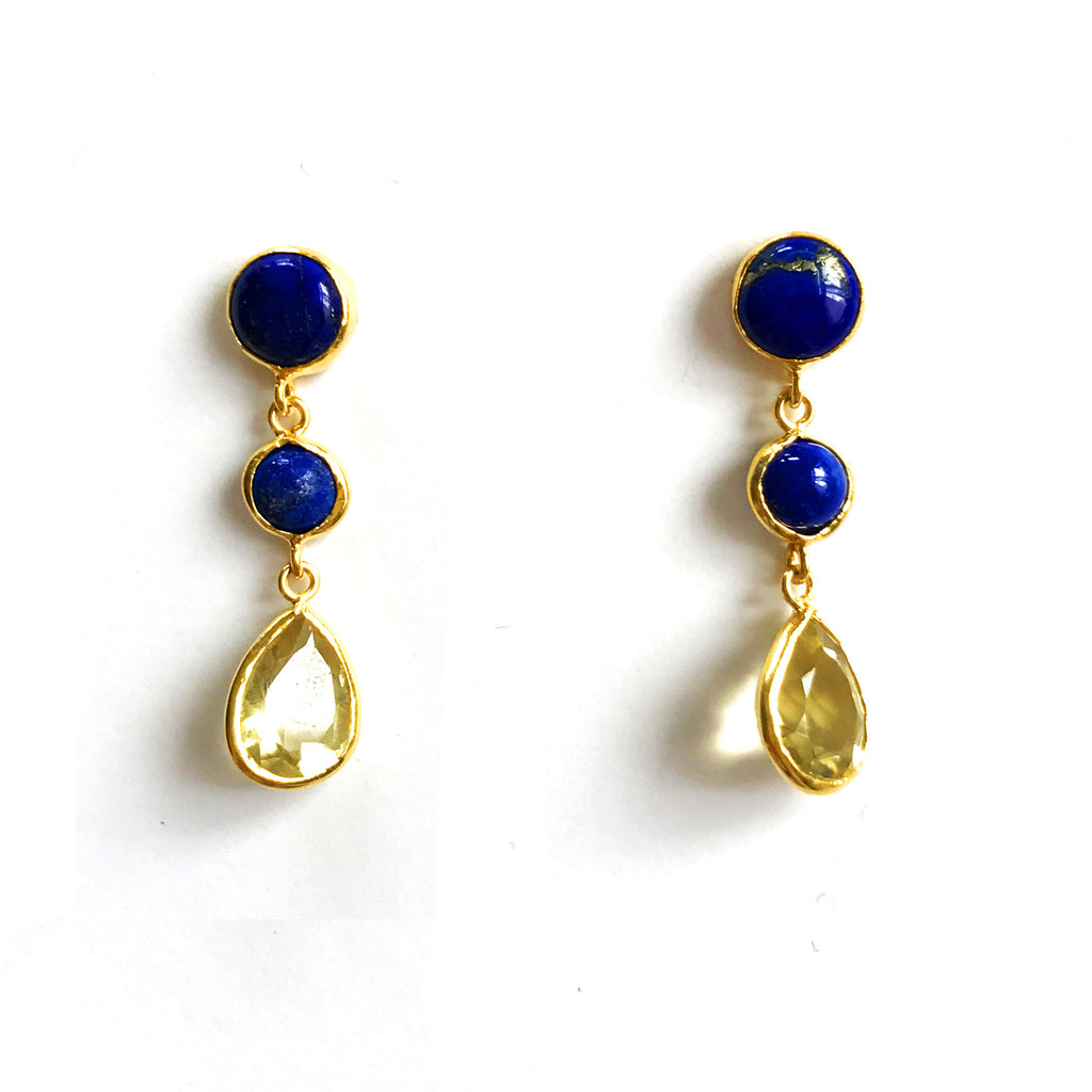3 Drop Earrings : LapisLazuli x LemonQuartz