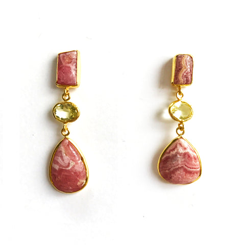 3 Drop Earrings (M-size): Rhodochrosite x Topaz