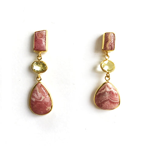 3 Drop Earrings : Rhordcrosite x LemonQuartz