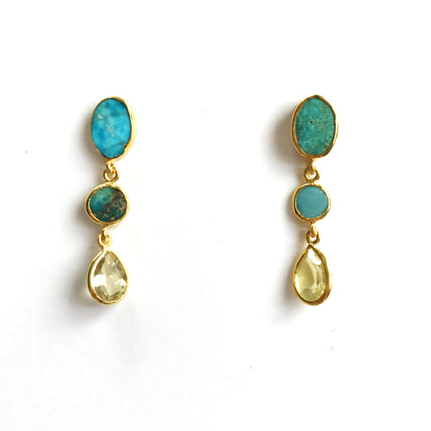 3 Drop Earrings ( S-size) : Turquoise x Topaz