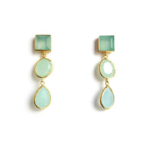 3 Drop Earrings : Chalcedony