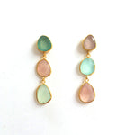 3 Drop Earrings : Chalcedony x RoseQuartz