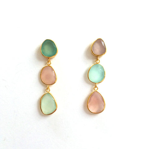 3 Drop Earrings ( S-size) : Chalcedony x RoseQuartz