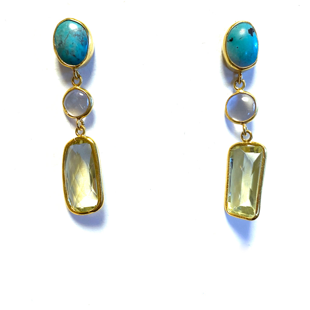 3 Drop Earrings (L-size) : Turquoise × Ametrine × Topaz