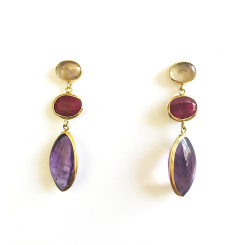 3 Drop Earrings : Ametrine x Ruby x Amethyst