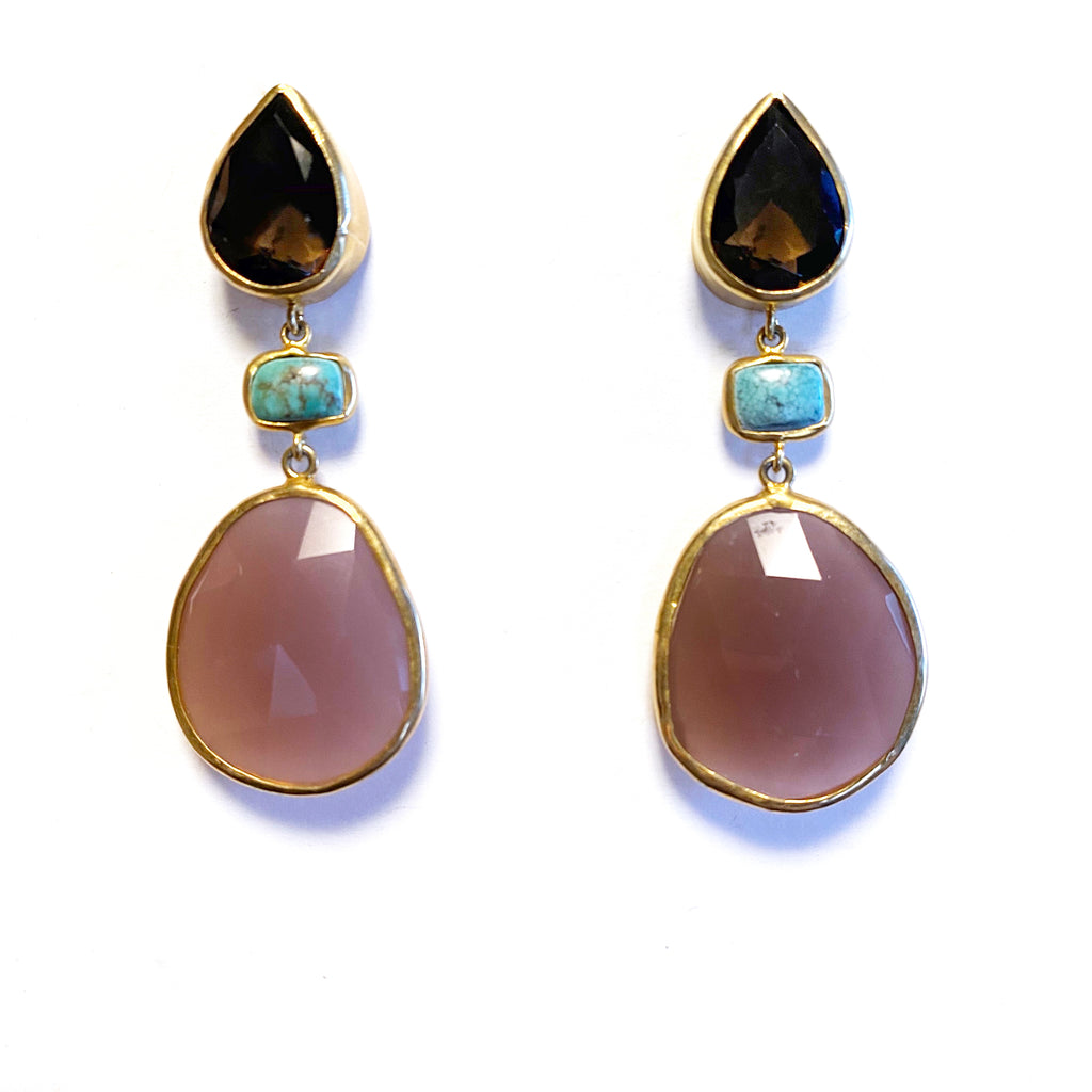 3 Drop Large Earrings : Smoky Quartz x Turquoise x Cateye