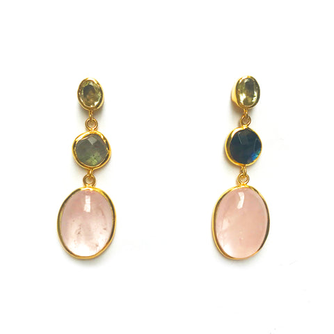 3 Drop Earrings : Labradorite × Labradorite × Rosequartz