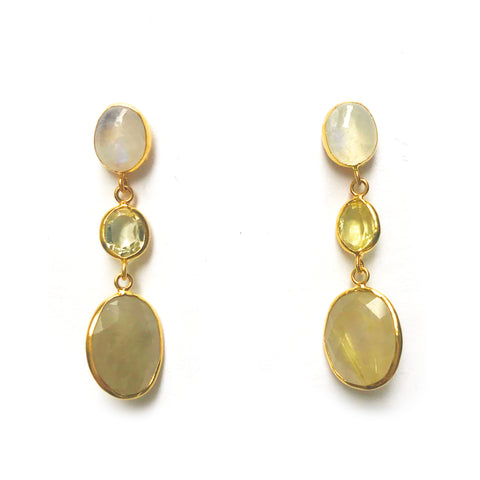 3 Drop Large Earrings : Moonstone x Topaz x RutileQuartz