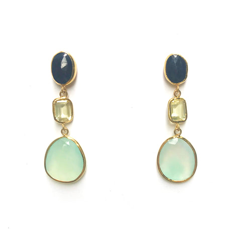 3 Drop Large Earrings : Sapphire x Topaz x Chalcedony